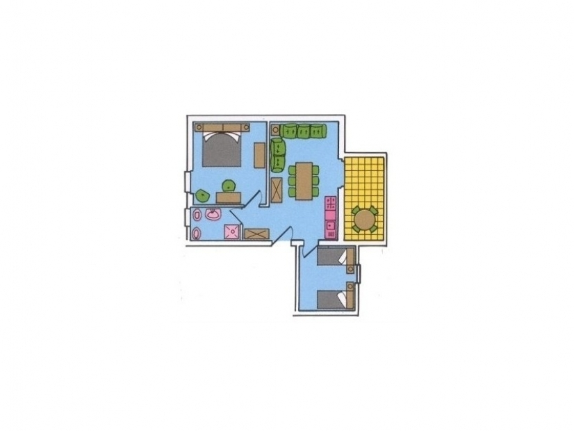 Plan of the three-room apartment for 6 people